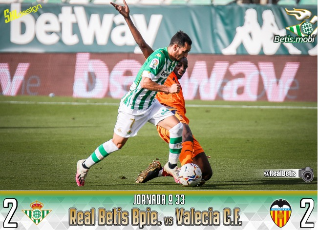 Crónica | Real Betis Balompié 2 – Valencia CF 2: Frenazo en Heliópolis